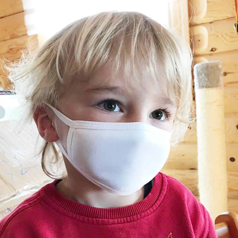 Gesichtsmaske weiß, Größe S, bis ca. 4 Jahre, ca. 8,5 cm x 14 cm mit Druck