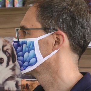 Gesichtsmaske weiß, Größe L, ab ca. 16 Jahre, ca. 12 cm x 20 cm mit Druck